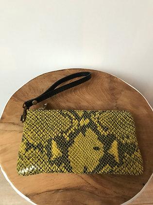Yellow Ziplet Leather Snake Wallet - Jijou Capri