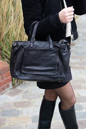 Black Marcie Vintage Leather Handbag - Jijou Capri