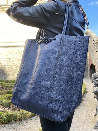 Navy Grained Leather Tote Bag - Jijou Capri