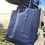 Thumbnail: Navy Grained Leather Tote Bag - Jijou Capri