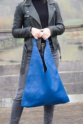 Gisele Royal Blue Leather Tote bag - Jijou Capri