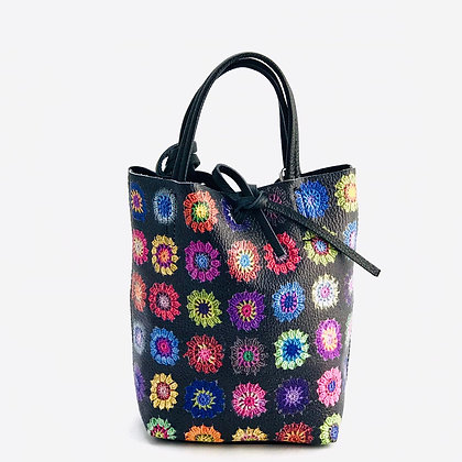 Mini Basic Flowers Black Leather Tote Bag - Jijou Capri