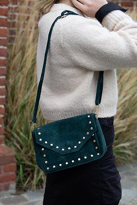 Green Sage Tabby Suede Leather Handbag - Jijou Capri