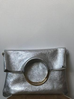 Twiggy Silver Metallic Leather Handbag - Jijou Capri