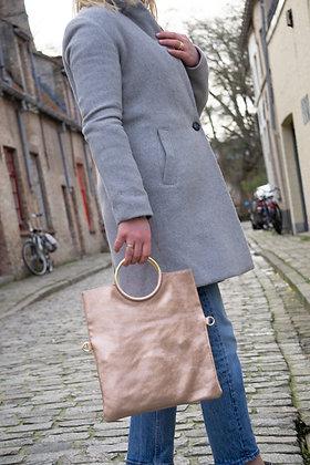 Twiggy Rose Gold Metallic Leather Handbag - Jijou Capri