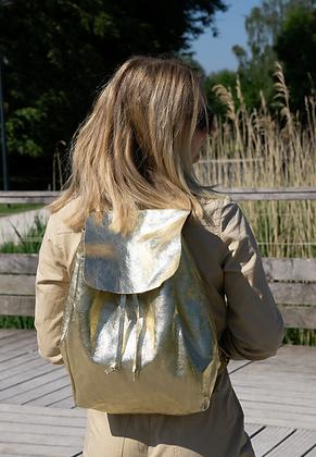 Zaino Gold Metallic Leather Backpack - Jijou Capri
