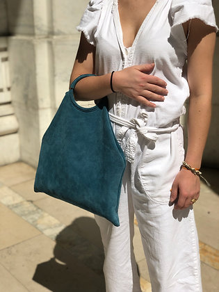 Montreal Medio Suede Leather Tote Bag Turquoise 26 - Jijou Capri