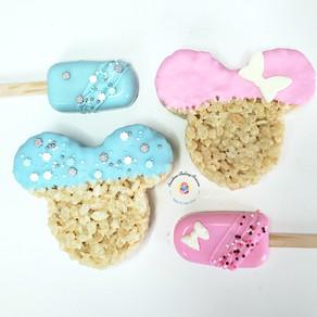 Custom Mickey inspired cakesicles and Rice Krispie Treats