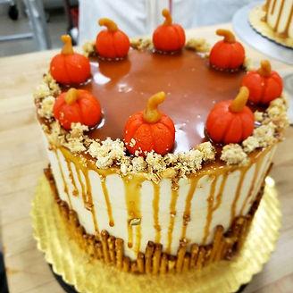 Pumpkin Spice Chiffon Cake with Caramel Swiss Buttercream