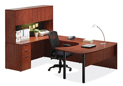 U Shaped Desk with Overhead Storage