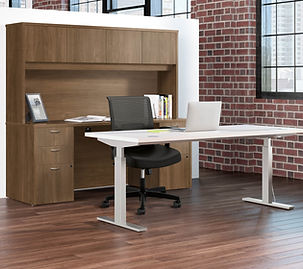 Height adjustable desks for offices.