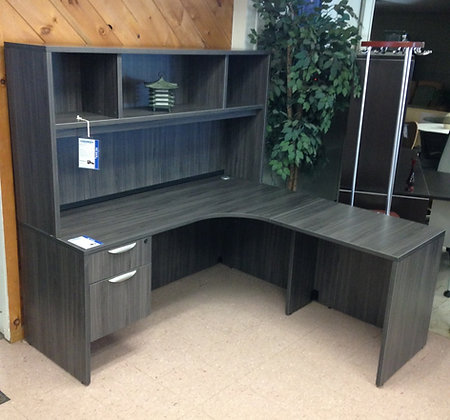 """66"""" x 66"""" L Shaped Desk with Overhead Hutch"""