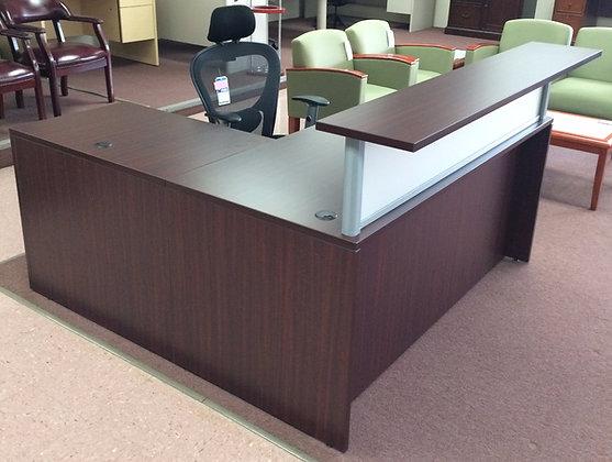 "L Shaped Reception Desk w/ 66"" Transaction Top"