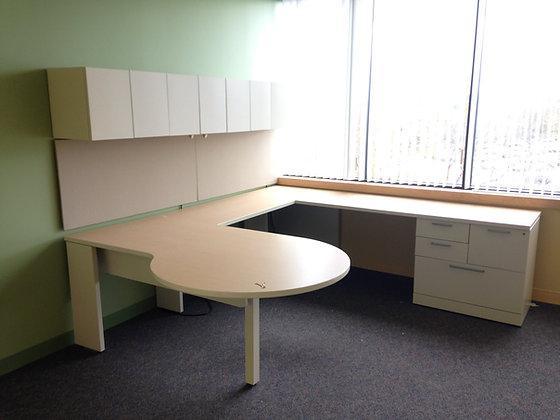#279, Pre-Owned Allsteel P-Top Desks w/ Overhead Storage