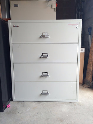 "#138, Pre-Owned 38""W Fireking 4 Drawer Fireproof Lateral Filing Cabinet"