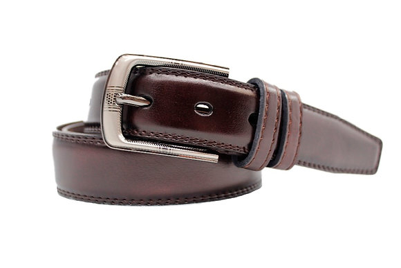 BROWN LEATHER PIN BUCKLE BELT