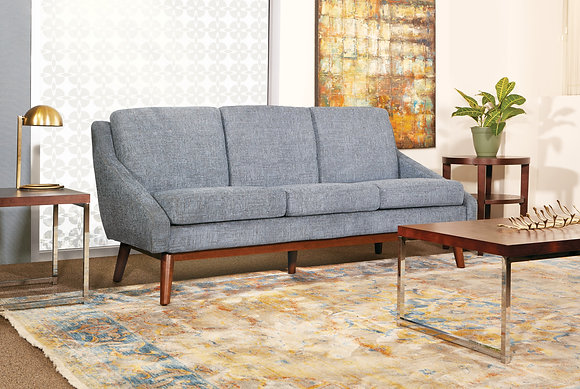 Mid-Century Sofa with Solid Wood Legs   Navy