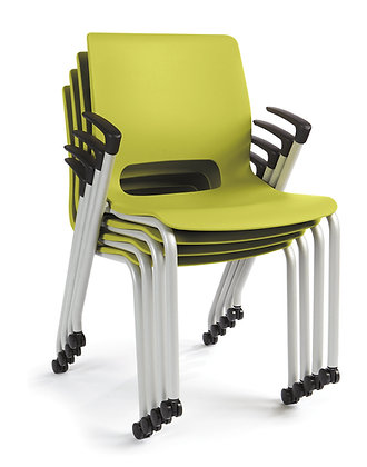 Motivate Stacking Chairs w/ Arms + Casters - 2/carton