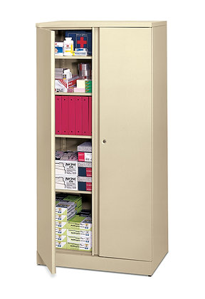 Metal Storage Cabinet, 5 Shelves, Putty
