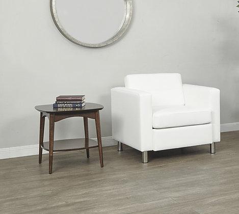 Pacific Arm Chair with Chrome Legs | Snow Vinyl
