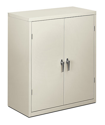Storage Cabinet, 2 Shelves, Light Gray