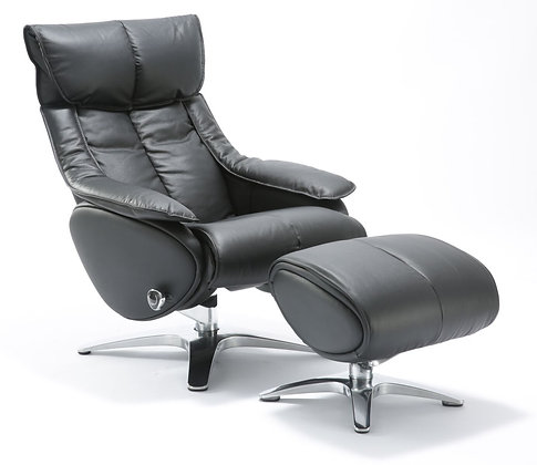 High Back Leather Recliner w/ Ottoman