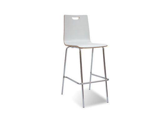 Cafe Height High Back Wood Stool
