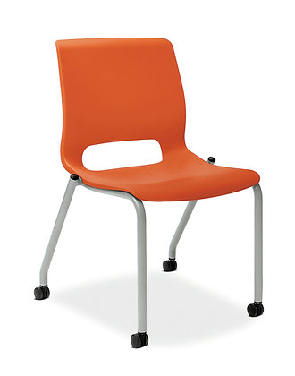Armless Motivate Stacking Chairs w/ Casters - 2/carton
