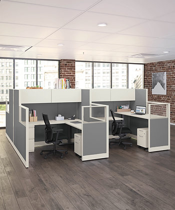 4-Person Cubicle System - Accelerate | Height Adjustable Worksurfaces