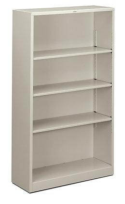 Steel Bookcase, 4 Shelves, Light Gray
