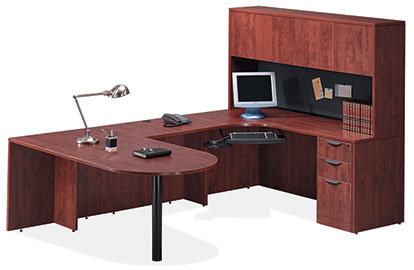 U Shaped Bullet Desk with Overhead Storage