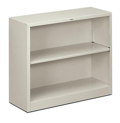 Steel Bookcase, 2 Shelves, Light Gray