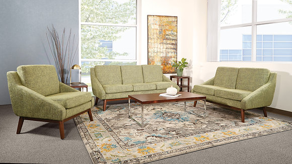 Davenport Loveseat with Solid Wood Legs   Olive