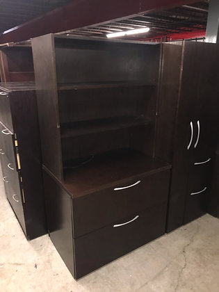 "#451, Pre-Owned Kimball Wooden 2 Drawer Lateral File w/ Hutch | 36""W"