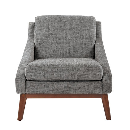 Davenport Club Chair with Solid Wood Legs | Charcoal