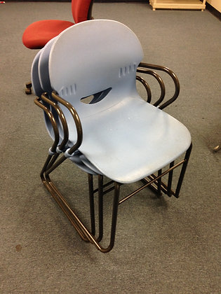 #223 Light Blue Stacking Chairs w/ Black Arms