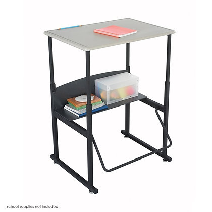 """Adjustable-Height Stand-Up Desk with Swinging Footrest Bar, 28""""W x 20""""D"""