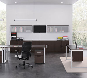 New office furniture layouts for businesses with open space plan.