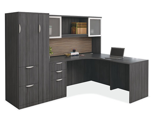 L Shaped Desk with Personal Wardrobe