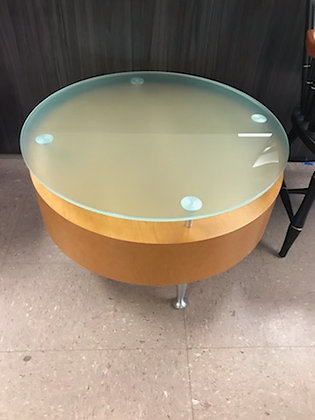 """#480, Pre-Owned OFS 30"""" Dia. Cylinder Table w/ Frosted Glass"""