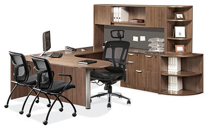 U-Shaped Bullet Desk with Hutch