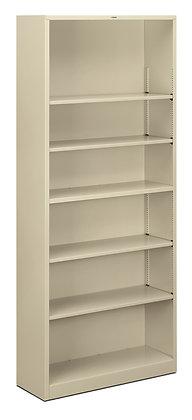 Steel Bookcase, 6 Shelves, Light Gray