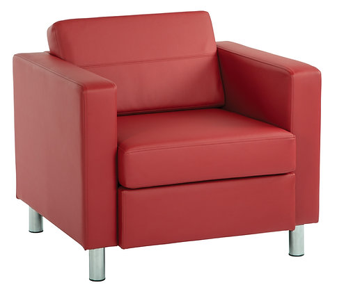 Pacific Arm Chair with Chrome Legs | Lipstick Vinyl