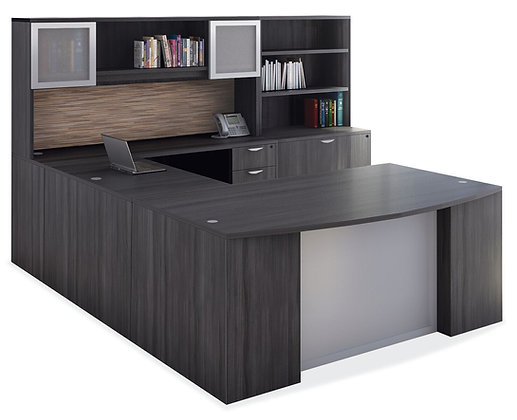 U Shaped Desk with Hutch and Lateral File with Hutch