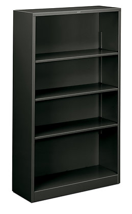 Steel Bookcase, 4 Shelves, Charcoal