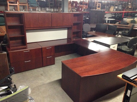 #302, Pre-Owned National Executive Bowfront Desk