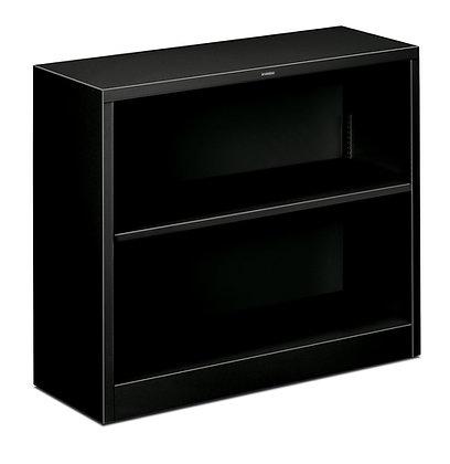 Steel Bookcase, 2 Shelves, Black
