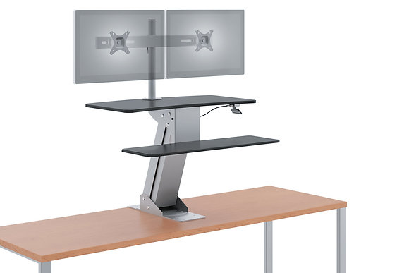 Mounted Desktop Riser with Dual Monitor Arm