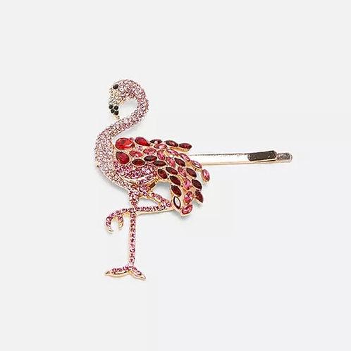 Rhinestone Flamingo Barrette