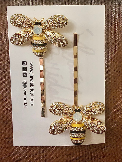 Set of 2 Bee Bobby Pins (Gold)